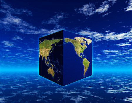 Globe as Cube North and South America, Pacific Rim Stock Photo - Rights-Managed, Code: 700-00024443