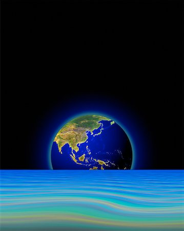 Globe Below Horizon in Abstract Landscape Pacific Rim Stock Photo - Rights-Managed, Code: 700-00024623