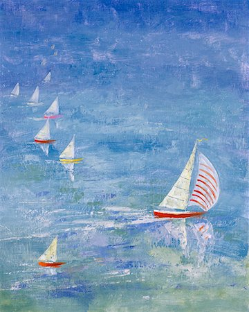Illustration of Sail Boats on Water Stock Photo - Rights-Managed, Code: 700-00025624