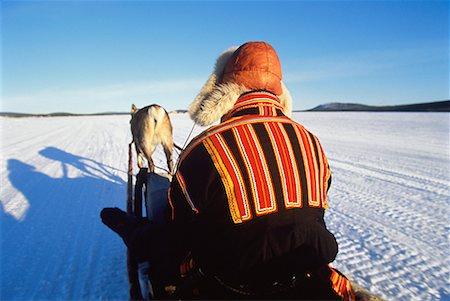 Laplander on Reindeer Sleigh Near Jukkasjarvi, Sweden Stock Photo - Rights-Managed, Code: 700-00025931