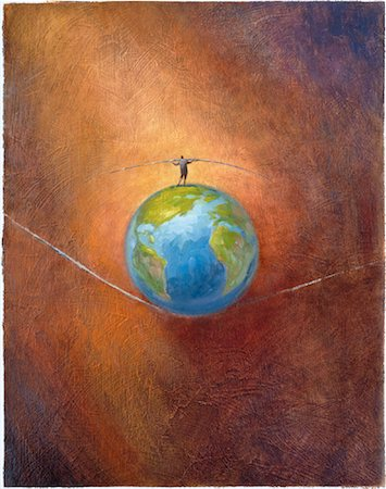 Illustration of Man Walking on Top of Globe on High Wire Stock Photo - Rights-Managed, Code: 700-00027954