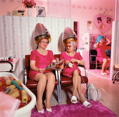 retro beauty salon images - Women Talking Under Hairdryers At Hair Salon Stock Photo - Rights-Managed, Code: 700-00028711