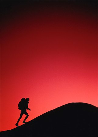 peter griffith - Silhouette of Hiker at Sunset Stock Photo - Rights-Managed, Code: 700-00029310