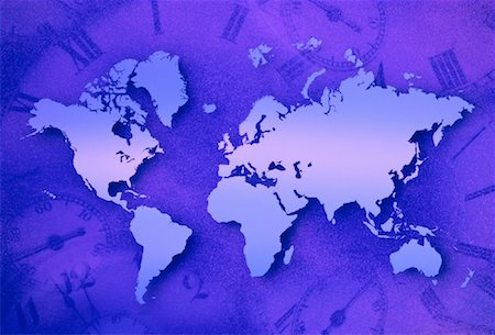 World Map and Clocks Stock Photo - Rights-Managed, Code: 700-00021950