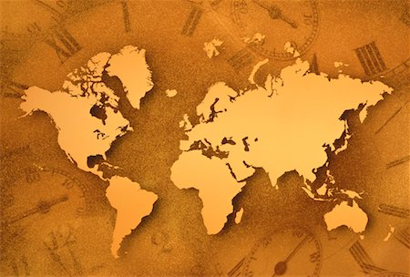 World Map and Clocks Stock Photo - Rights-Managed, Code: 700-00021951
