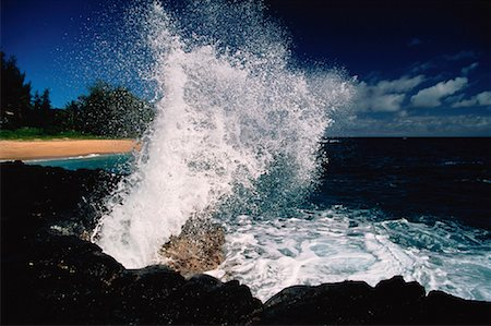 Waves Crashing on Rocks Near Princeville, Kauai Hawaii, USA Stock Photo - Rights-Managed, Code: 700-00022475
