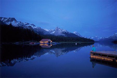 Maligne Lake at Night Jasper National Park Alberta, Canada Stock Photo - Rights-Managed, Code: 700-00023143