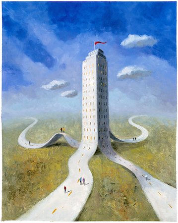 Illustration of Highways Merging Into Office Tower Stock Photo - Rights-Managed, Code: 700-00034174