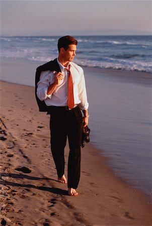 peter griffith - Businessman Walking on Beach Stock Photo - Rights-Managed, Code: 700-00034682