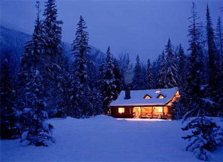 Cabin in Winter at Night Near Kimberley British Columbia, Canada Stock Photo - Rights-Managed, Code: 700-00035144