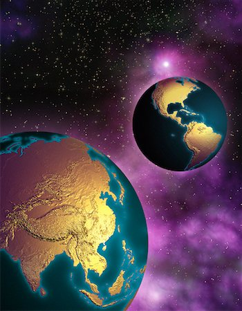Two Globes in Space North and South America and Pacific Rim Stock Photo - Rights-Managed, Code: 700-00035637