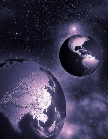 Two Globes in Space North and South America and Pacific Rim Stock Photo - Rights-Managed, Code: 700-00035638