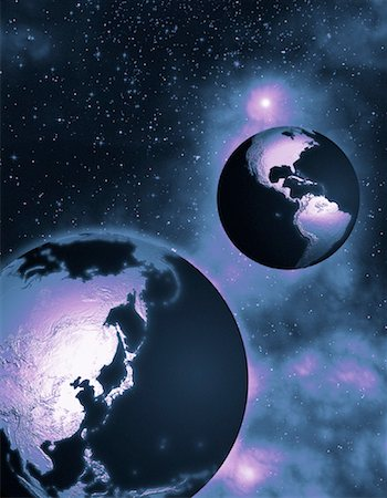 Two Globes in Space North and South America and Pacific Rim Stock Photo - Rights-Managed, Code: 700-00035640