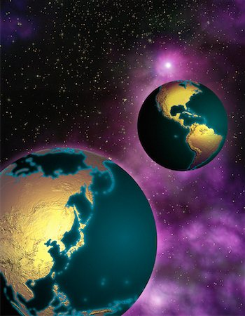 Two Globes in Space North and South America and Pacific Rim Stock Photo - Rights-Managed, Code: 700-00035688