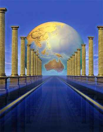 Globe Behind Columns Pacific Rim Stock Photo - Rights-Managed, Code: 700-00036132