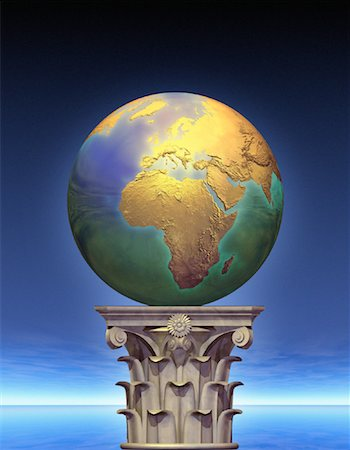 Globe on Pedestal Europe and Africa Stock Photo - Rights-Managed, Code: 700-00036178