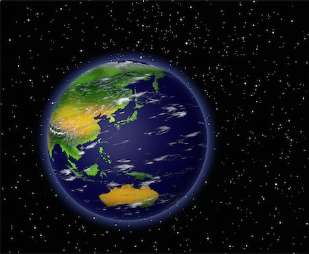 Globe in Space Pacific Rim Stock Photo - Rights-Managed, Code: 700-00036476