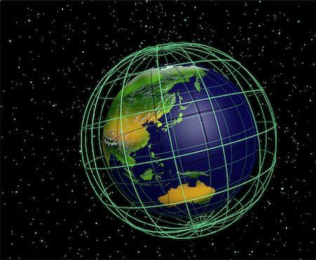 Globe and Grid Pacific Rim Stock Photo - Rights-Managed, Code: 700-00036482