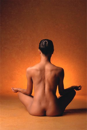 Back View of Nude Woman Sitting In Lotus Position Stock Photo - Rights-Managed, Code: 700-00033029