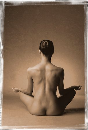 Back View of Nude Woman Sitting In Lotus Position Stock Photo - Rights-Managed, Code: 700-00033030