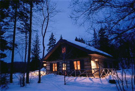 Cottage in Winter at Night Stock Photo - Rights-Managed, Code: 700-00045815