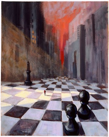 Illustration of Man Walking on Chess Board Cityscape Stock Photo - Rights-Managed, Code: 700-00045862