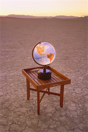 Globe on Table in Desert Nevada, USA Stock Photo - Rights-Managed, Code: 700-00045973