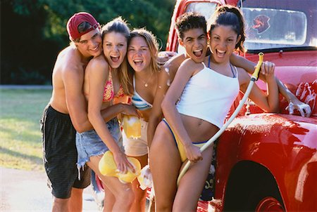 Group of Teenagers Washing Truck Stock Photo - Rights-Managed, Code: 700-00047017