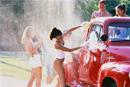 Group of Teenagers Washing Truck Stock Photo - Rights-Managed, Code: 700-00047024
