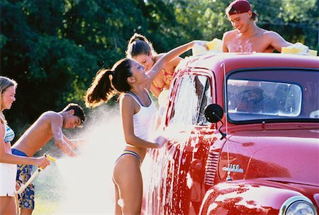 Group of Teenagers Washing Truck Stock Photo - Rights-Managed, Code: 700-00047022