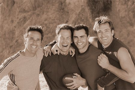 peter griffith - Group Portrait of Men with Football Outdoors Stock Photo - Rights-Managed, Code: 700-00047238