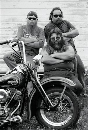 Portrait of Bikers with Motorcycle, Marmora, Ontario Canada Stock Photo - Rights-Managed, Code: 700-00047319
