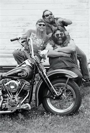 Portrait of Laughing Bikers with Motorcycle Marmora, Ontario, Canada Stock Photo - Rights-Managed, Code: 700-00047678