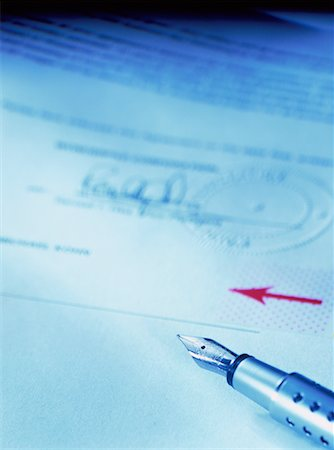Close-Up of Pen and Contract Stock Photo - Rights-Managed, Code: 700-00049069