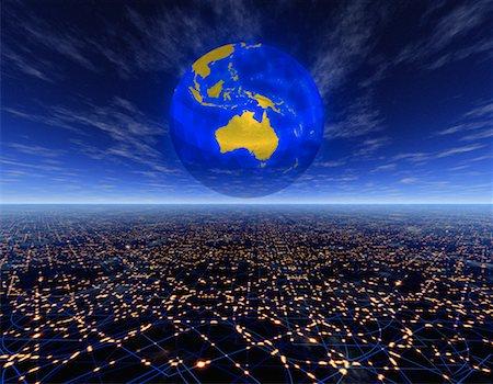 Globe over Horizon Pacific Rim Stock Photo - Rights-Managed, Code: 700-00041195