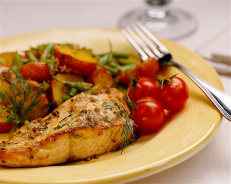 Salmon Dinner Stock Photo - Rights-Managed, Code: 700-00041275