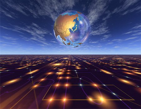 Globe over Abstract Grid Pacific Rim Stock Photo - Rights-Managed, Code: 700-00042293