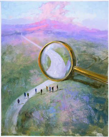 Illustration of People on Road With Magnifying Glass Stock Photo - Rights-Managed, Code: 700-00043023