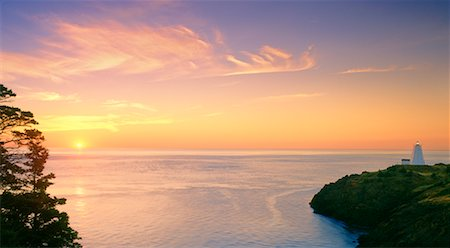 Swallowtail Lighthouse at Sunrise Grand Manan Island New Brunswick, Canada Stock Photo - Rights-Managed, Code: 700-00043118