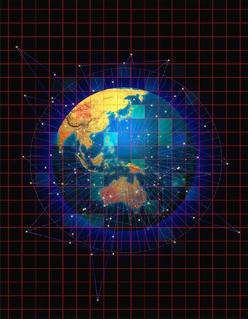 Globe with Grid and Connecting Lines Pacific Rim Stock Photo - Rights-Managed, Code: 700-00054511