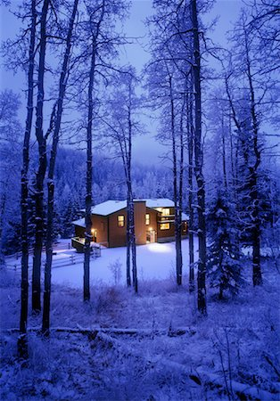 House in Forest in Winter Stock Photo - Rights-Managed, Code: 700-00056515