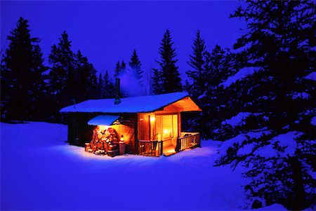 Snow Covered Cabin in Winter at Night Stock Photo - Rights-Managed, Code: 700-00058069