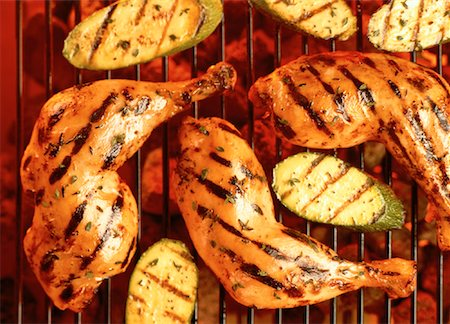 Close-Up of Chicken Legs and Zucchini on Grill Stock Photo - Rights-Managed, Code: 700-00051432