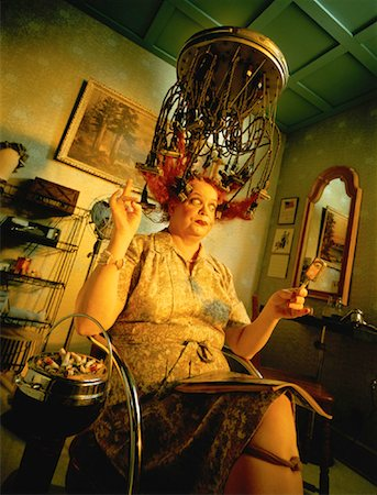 retro beauty salon images - Mature Woman Sitting under Vintage Hair Curling Device Stock Photo - Rights-Managed, Code: 700-00051498