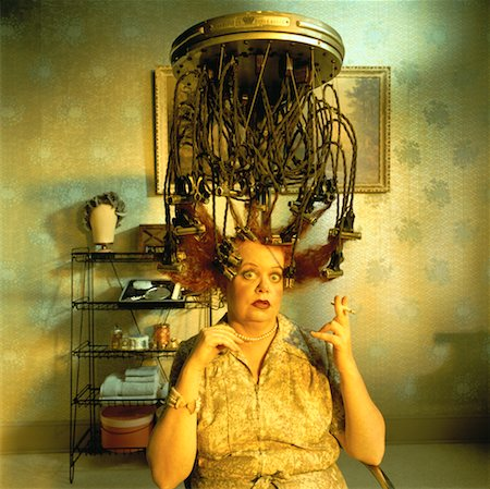 retro beauty salon images - Mature Woman Sitting under Vintage Hair Curling Device Stock Photo - Rights-Managed, Code: 700-00051637