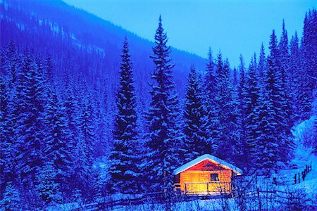 Snow Covered Trees and Cabin In Winter, Jasper National Park Alberta, Canada Stock Photo - Rights-Managed, Code: 700-00052259