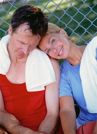 sweaty woman - Portrait of Mature Couple Resting In Park after Workout Stock Photo - Rights-Managed, Code: 700-00053365