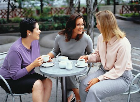 Three Women Talking at Outdoor Cafe Stock Photo - Rights-Managed, Code: 700-00053784