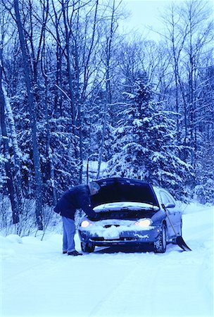Mature Man with Stalled Car at Roadside in Winter, ON, Canada Stock Photo - Rights-Managed, Code: 700-00065026