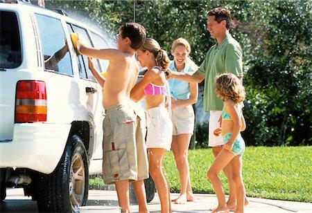 Family Washing Car Stock Photo - Rights-Managed, Code: 700-00065609